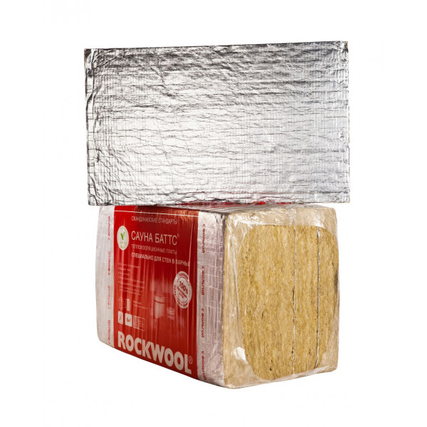 Каменная вата ROCKWOOL САУНА БАТТС 1000 х 600 х 100 мм 4 штуки в упаковке